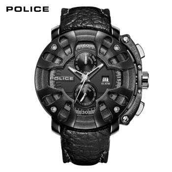 POLICE腕時計男性用46 mmブラック文字盤ブラックサイドベルトクールブラックパンク多機能ク男性腕時計PL.3806 JSB/02