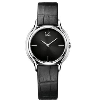 CKカリン腕时计SkRTシリズの女性时计の简素化に黒ディック黒革ベルトのツケ表K 2 U 23 C 1