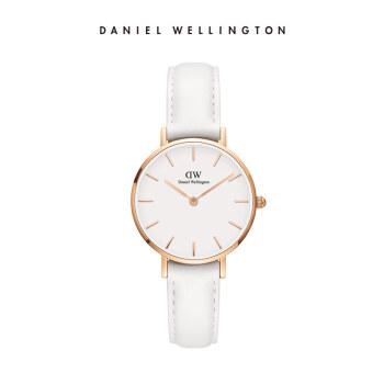 ダニエルウェリントンDW腕時計女性プノンペンの白い革のバンド28 mmホワイトディスク欧米シンプルスタイル学生用腕時計DW 00100249