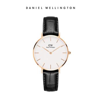 丹尼尔惠灵顿 (DanielWellington) 手表DW女表32mm金色边白盘皮带女士手表学生手表 DW00100173