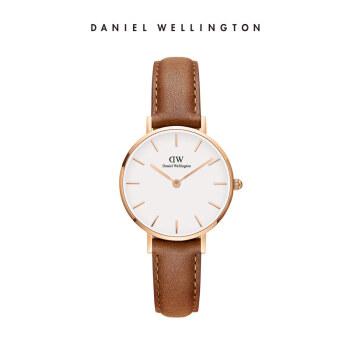 ダニエルウェリントンDW女子時計金色辺皮革ベルト28 mmホワイトディスク欧米シンプルスタイル学生腕時計ファッション