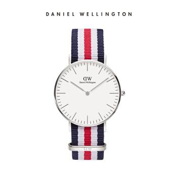 丹尼尔惠灵顿(DanielWellington)手表DW女表36mm银色边尼龙带超薄女士クォーツ手表0606DW(DW00100051)