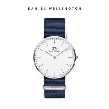 ダニエル・ウェリントン(DanielWellington)の新品DW男性用時計40 mm銀縁白盤ブルーナイロン織の超薄男性クロップ腕時計(DW 00100276)