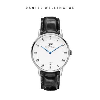 丹尼尔惠灵顿 (DanielWellington )手表DW女表34mm银色边皮带超薄女士クォーツ手表带日历DW00100117