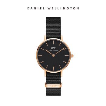 ダニエルウェリントンDW女性時計金色辺ナイロンバンド28 mmブラックディスク欧米シンプルスタイル学生時計DW 00100247