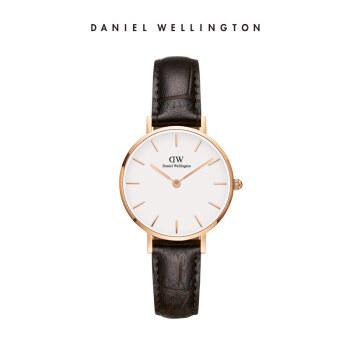 丹尼尔惠灵顿(DanielWellington)DW女表金色边皮革表带28mm白盘欧美简约风格学生手表时尚クォーツ表DW00100232