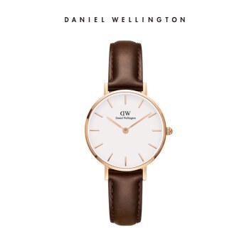ダニエルウェリントンDW女子時計金色辺皮革ベルト28 mmホワイトディスク欧米シンプルスタイル学生用腕時計ファッションククウォーツ時計DW 0000227