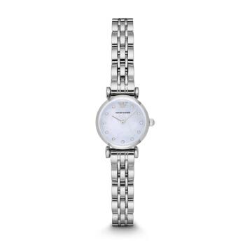 アルマテニ(Emporio Armmani)腕時計のファッション的なチェックの小さな文字盤クウォークスチールバンドの女性用時計AR 1961