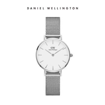 ダニエルウェリントンDanielWellington DW腕時計女性時計銀色のサイドメタルバンド28 mmシンプルホワイトディスク欧米学生
