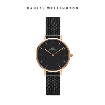 【DWブランド秒殺】DW腕時計女性28 mmダニエルウェリントンの腕時計ファッションはシンプルで超薄型のレガットメタル編みスチールベルト女性用金縁ブラックプレートDW 00100245